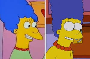 Marge Simpson in the first episode with a longer face and smaller eyes vs. Marge now with rounder features and bigger eyes and a necklace