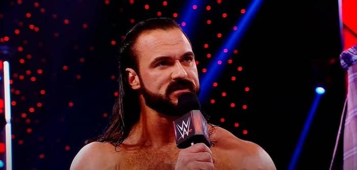 Drew McIntyre speaking on WWE microphone