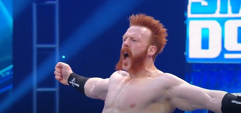 Sheamus yelling with his arms wide open