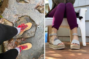 on left, reviewer wears tan hiking boots. on right, reviewer wears light gray platform sandals