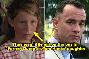 "A little girl on the left and Forrest Gump on the right, captioned ""the mean little girl on the bus is Tom Hanks' daughter"