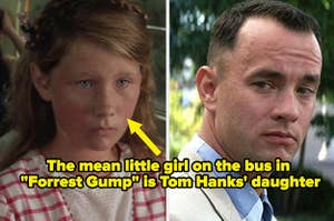 A little girl on the left and Forrest Gump on the right, captioned