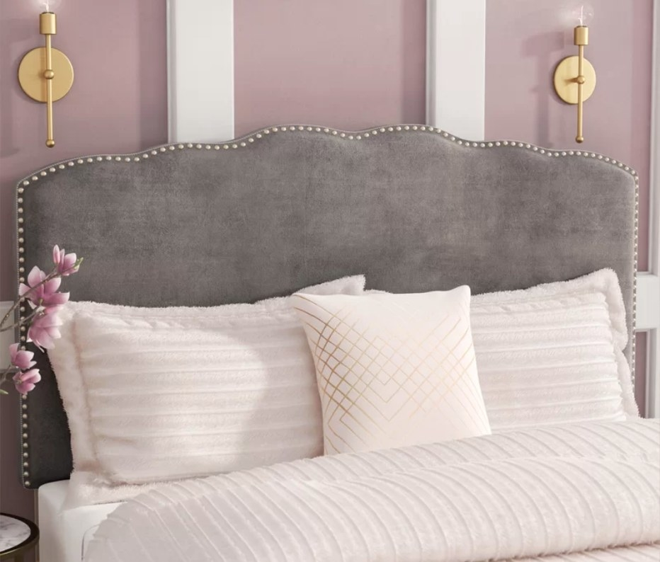 Gray velvet, upholstered nail-head bedframe