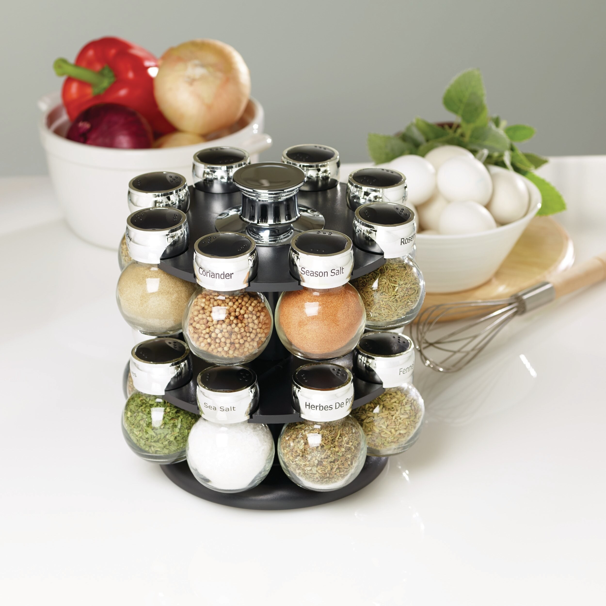 Spice rack sitting on counter