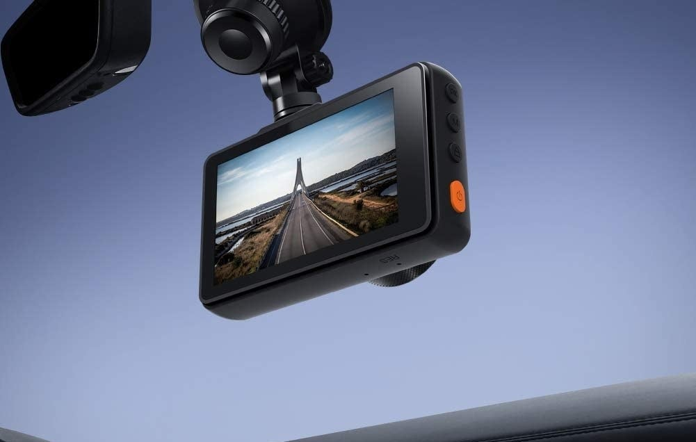 the dash cam mounted on a window