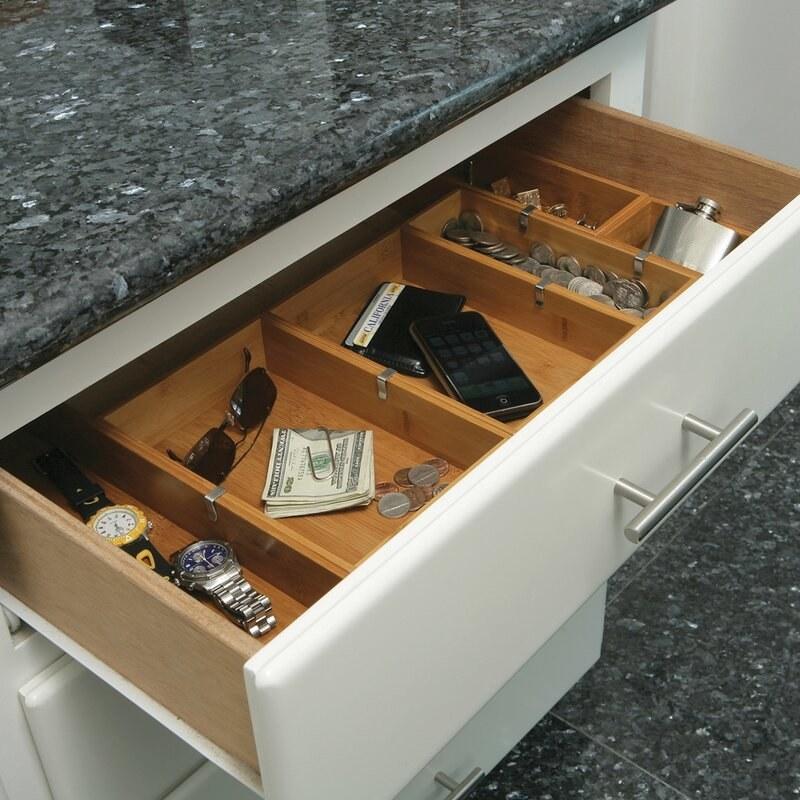 Drawer organizer being used in drawer