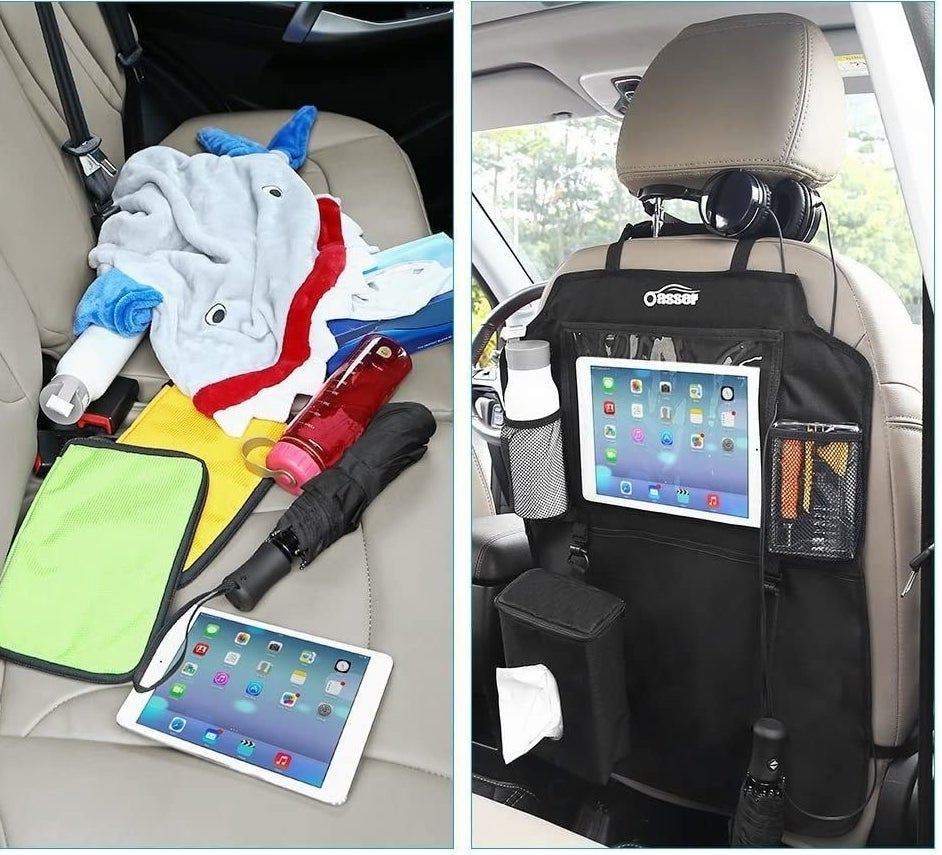 a picture of a messy backseat and what it looks like all organized in the organizer