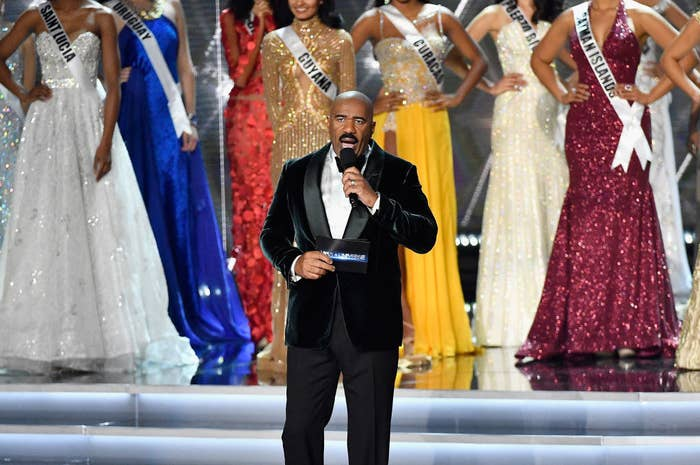 Steve Harvey speaks during the 2017 Miss Universe Pageant