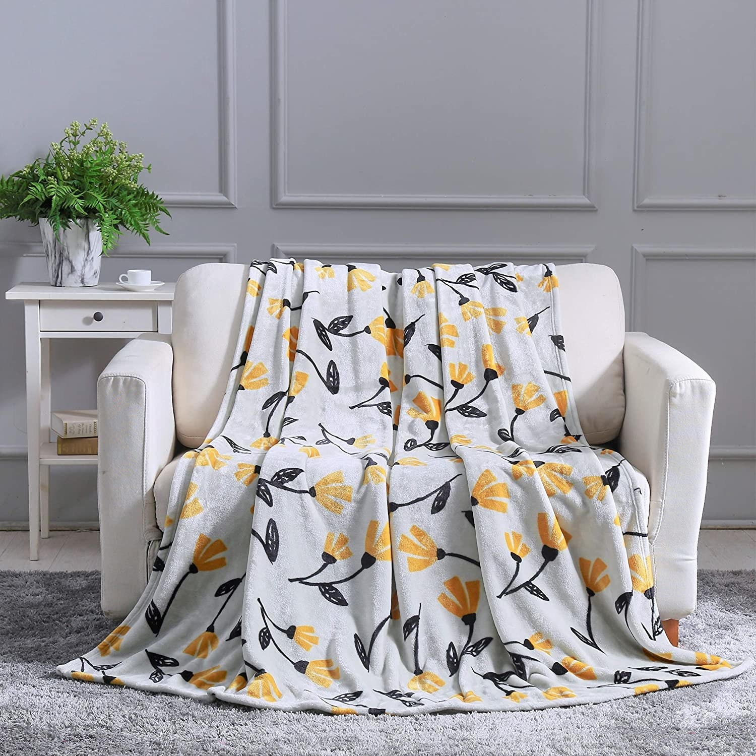 Floral throw placed over arm chair