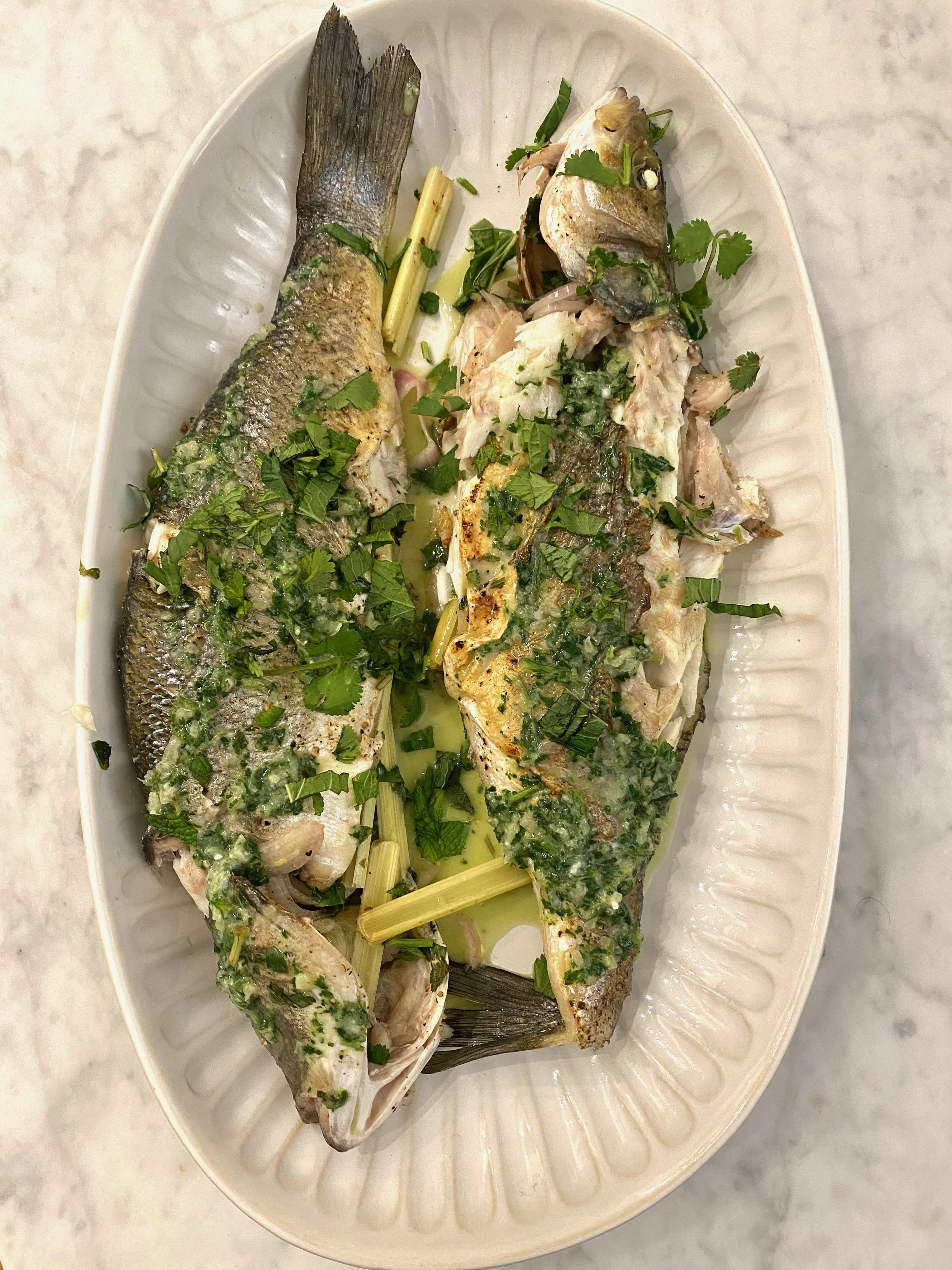 Thai Whole Grilled Snapper with herbs.