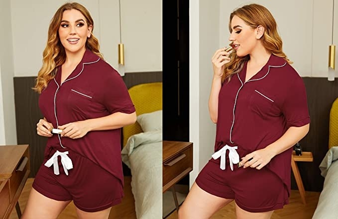 plus size model wearing a shorts PJ set with a drawstring waist and button-up collared shirt