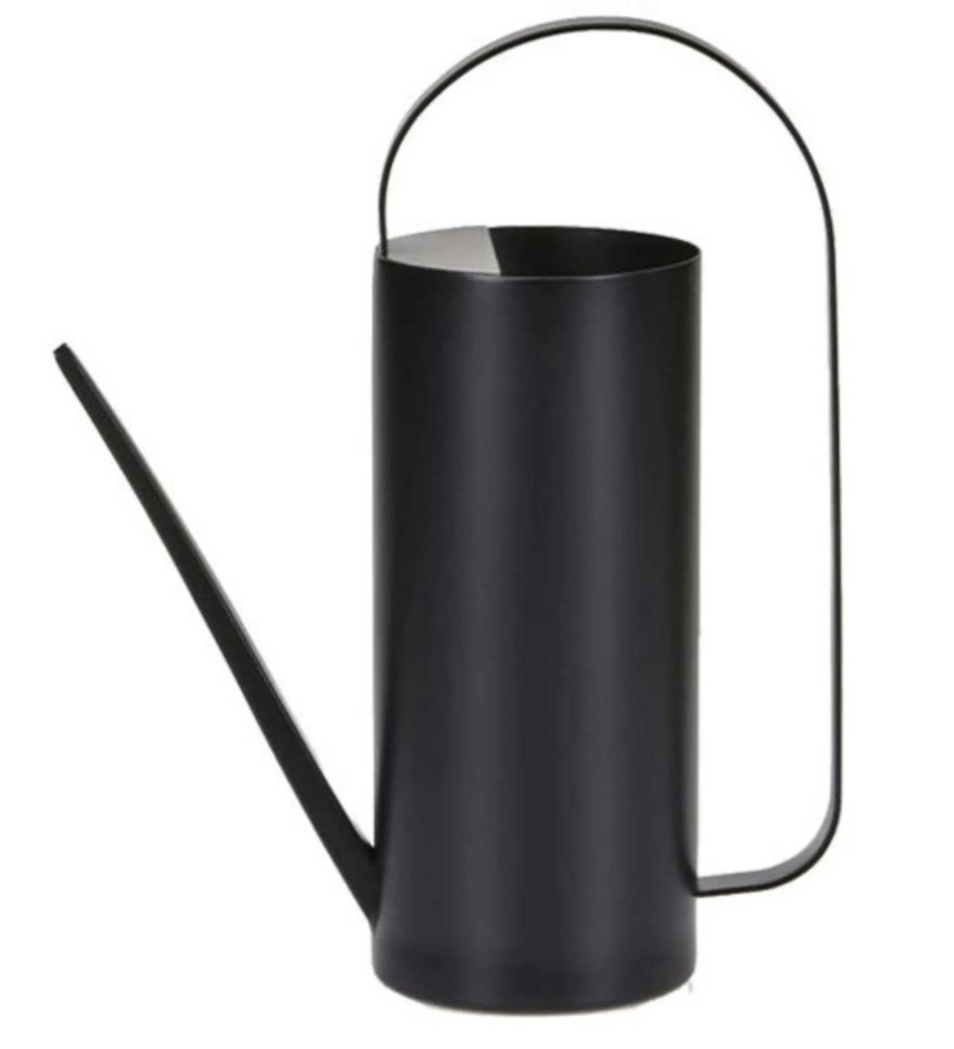 a tall cylindrical watering can with a thin spot and modern handle. In the color black