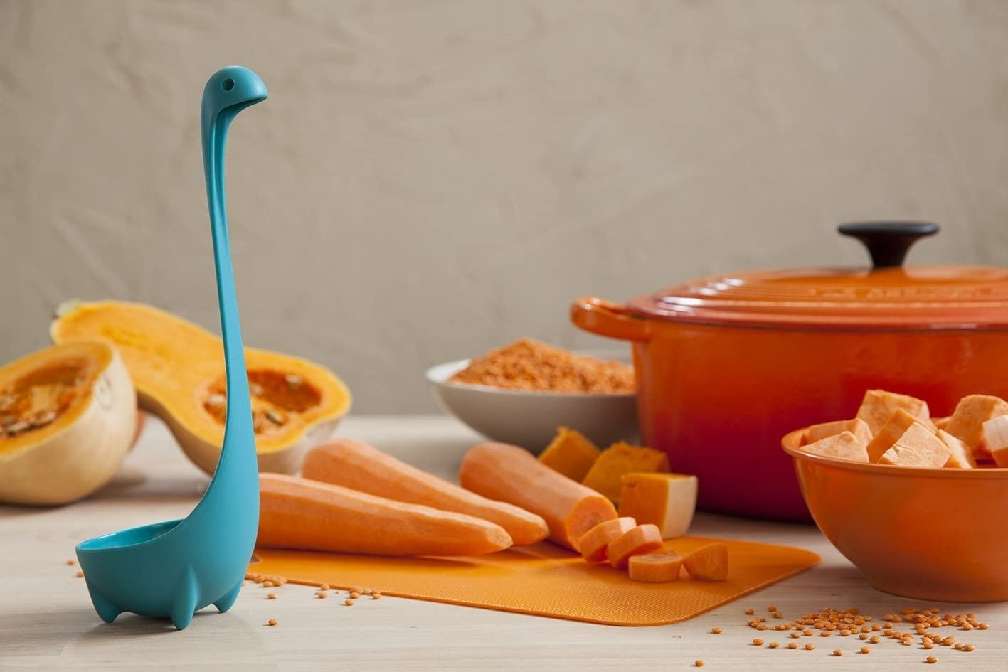Teal ladle shaped like the loch ness sea monster