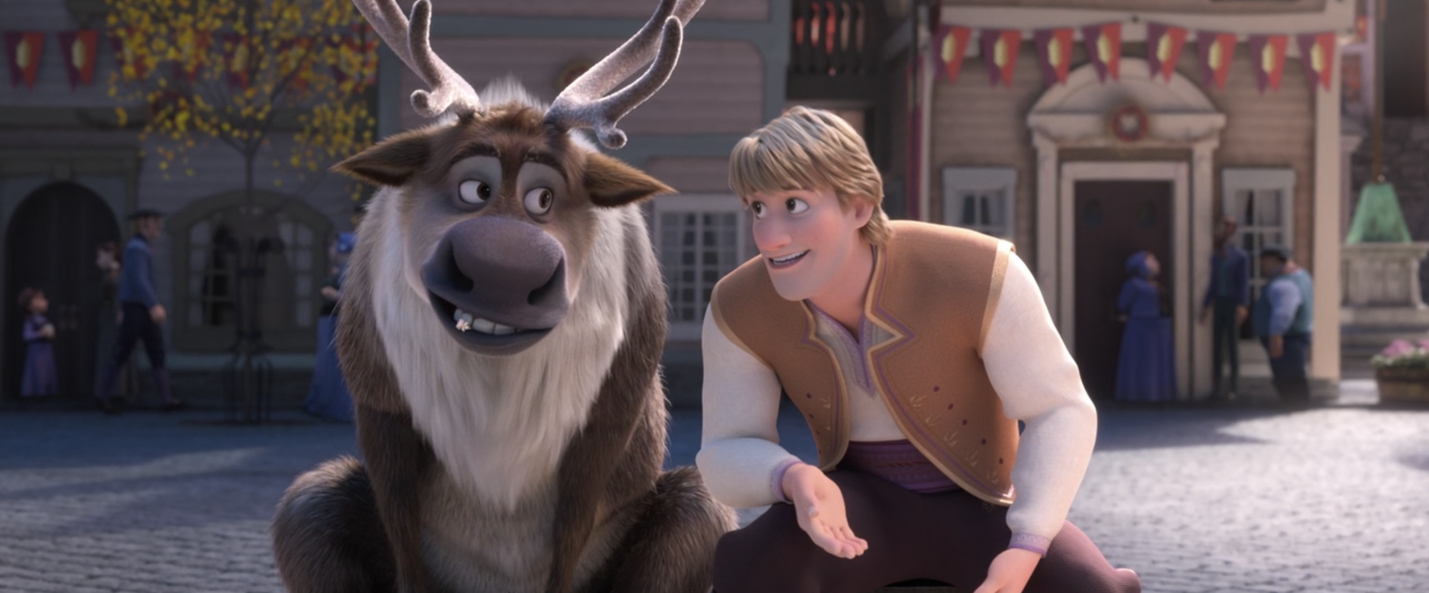 Kristoff and Sven talking about the engagement
