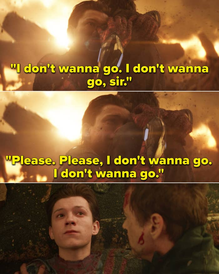 "Peter gripping to Tony and saying, ""Please. Please, I don't wanna go. I don't wanna go"""