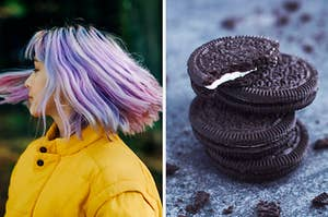 On the left, someone spinning around with their hair flowing around them, and on the right, a stack of Oreos