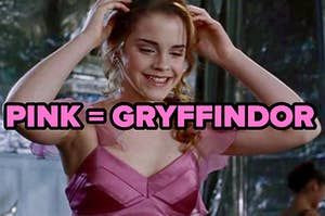 """hermione granger smiles and holds her hands on her head. the words """"pink = gryffindor"""" over the image"""