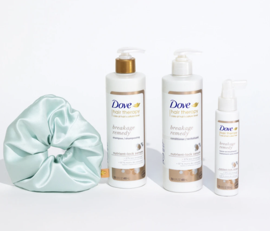 silk scrunchies and the bottles of product