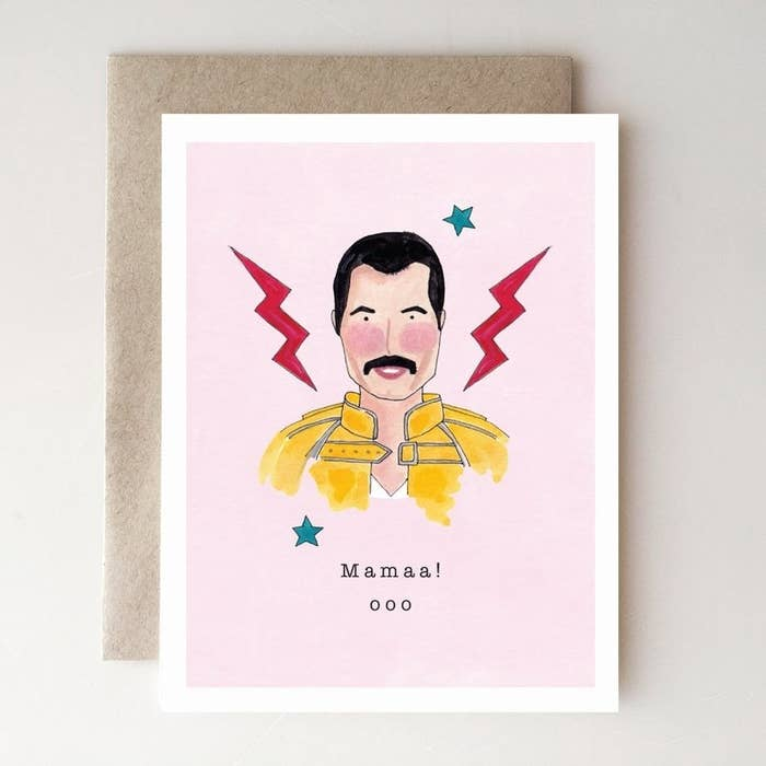 """the card with a watercolor of Freddie Mercury and the text """"Mamaa! ooo"""""""