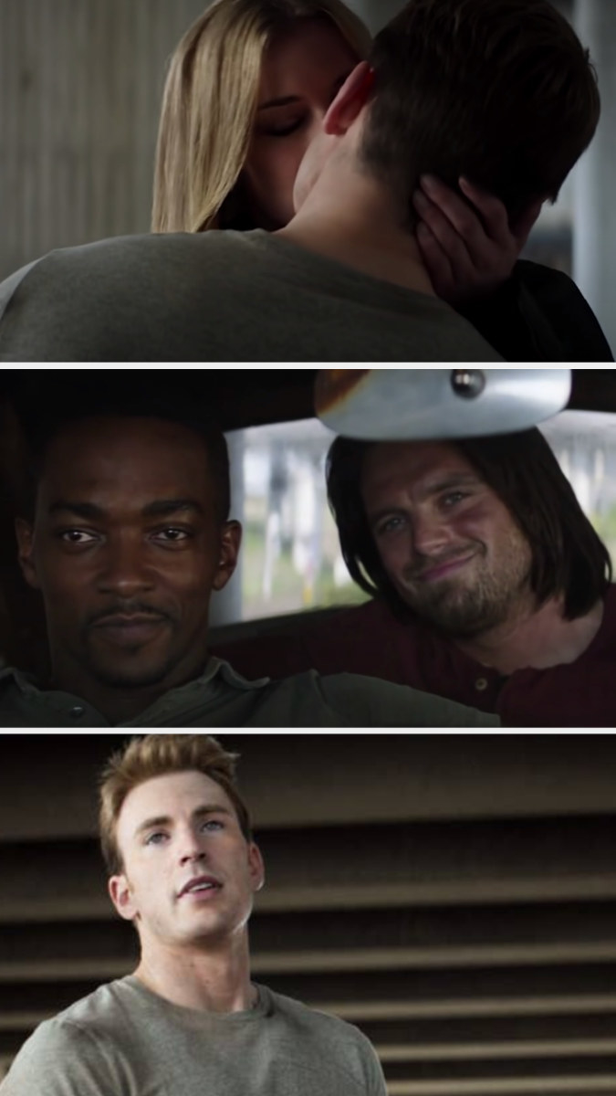 Steve and Sharon kissing, and Sam and Bucky smiling from the car