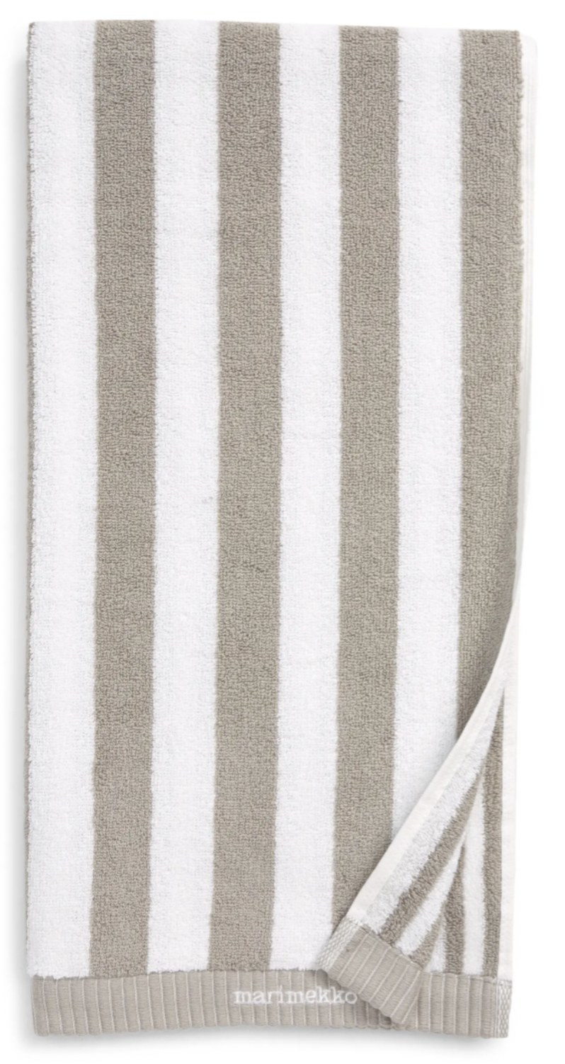 a hand towel with grey and white vertical stripes