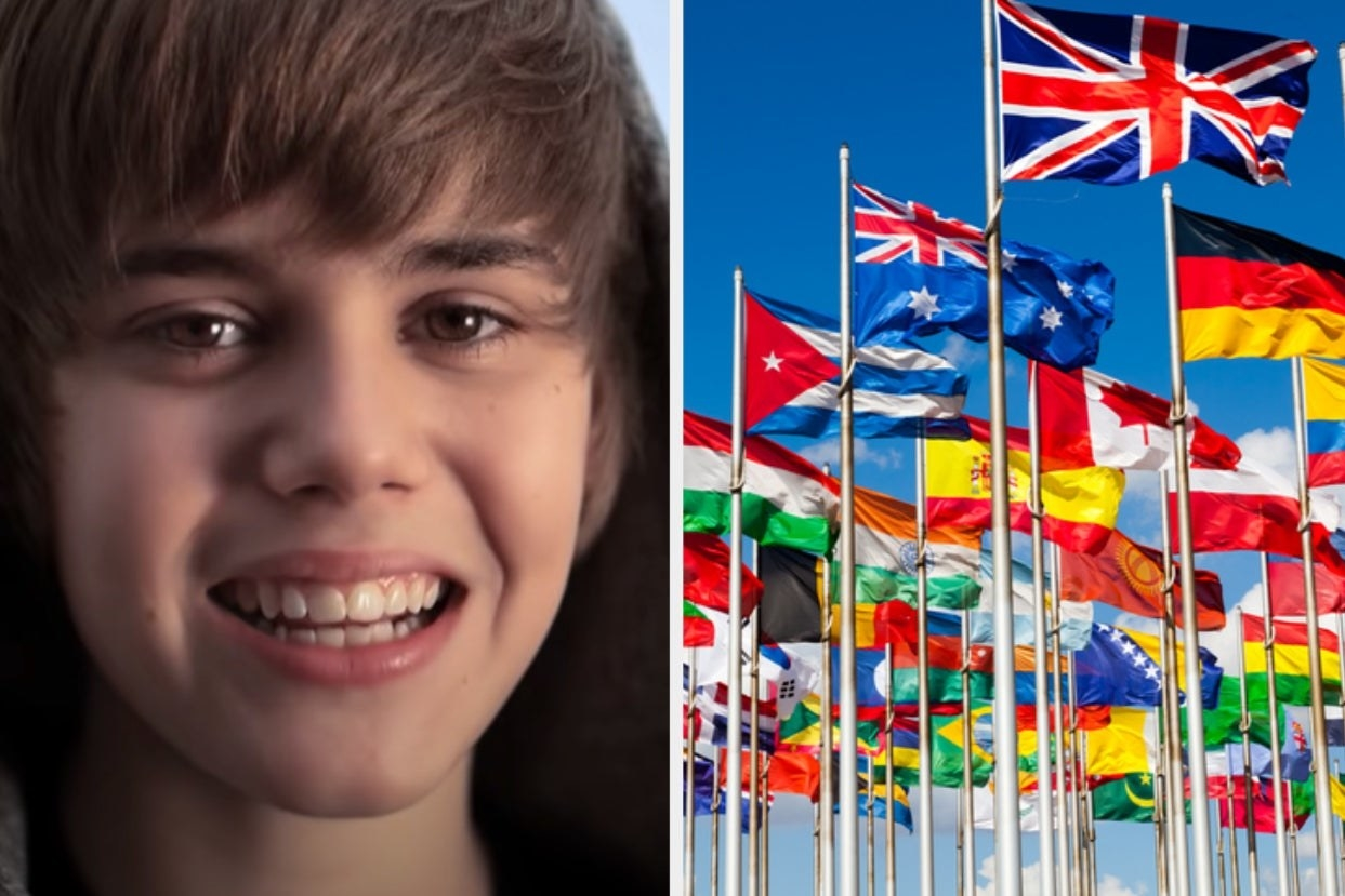 Justin Bieber and flags of the world
