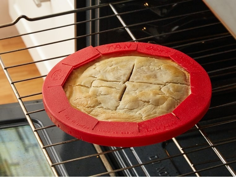 silicone crust shield around baked pie