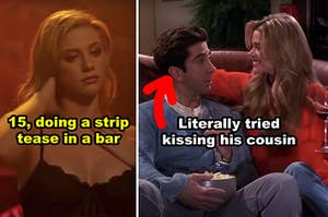 "Side-by-side of Betty in ""Riverdale"" and Ross trying to kiss his cousin on ""Friends"""