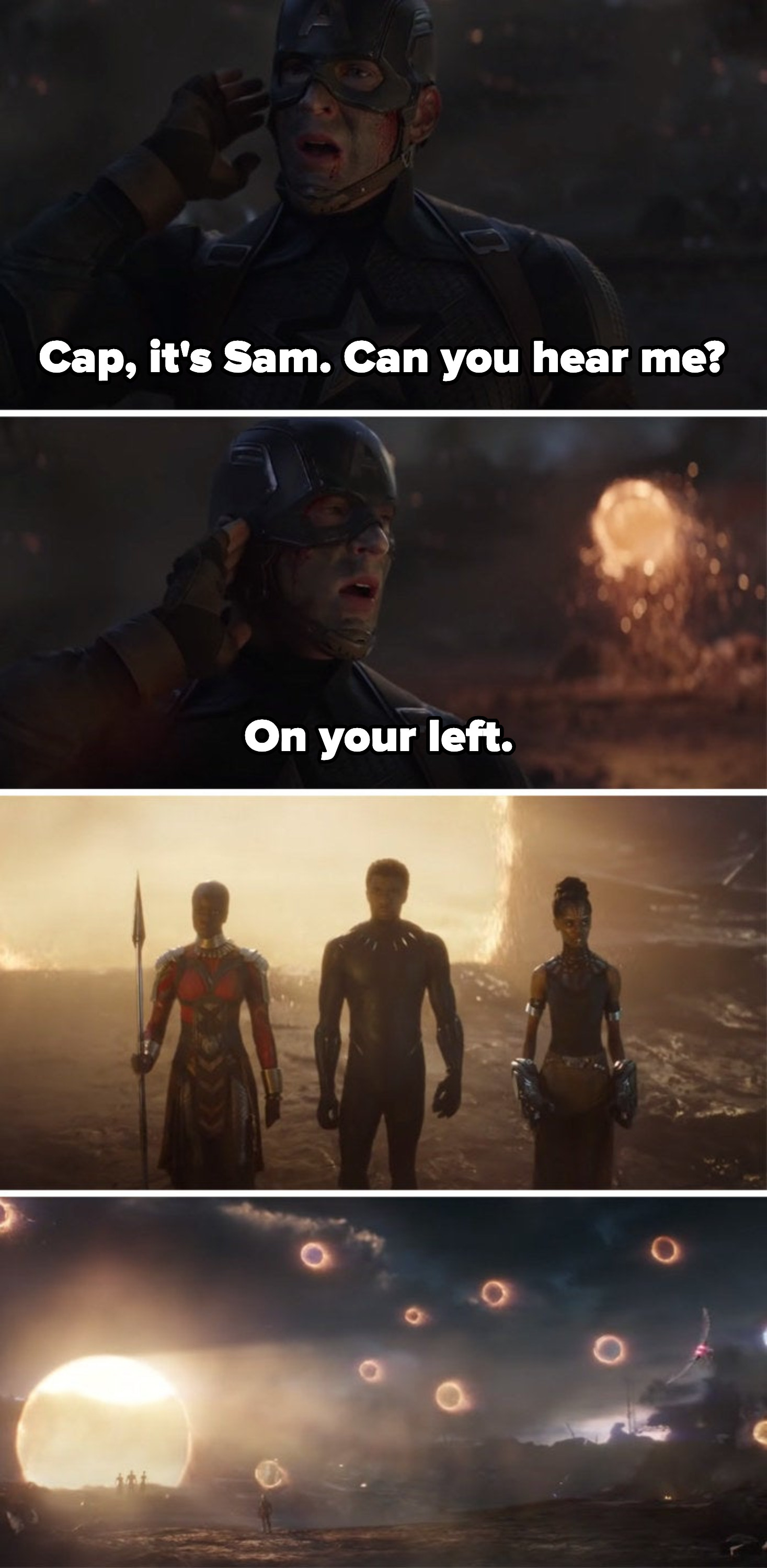 The final battle, when Sam tells Steve he's on his left and the portals that bring the other  Avengers in open up
