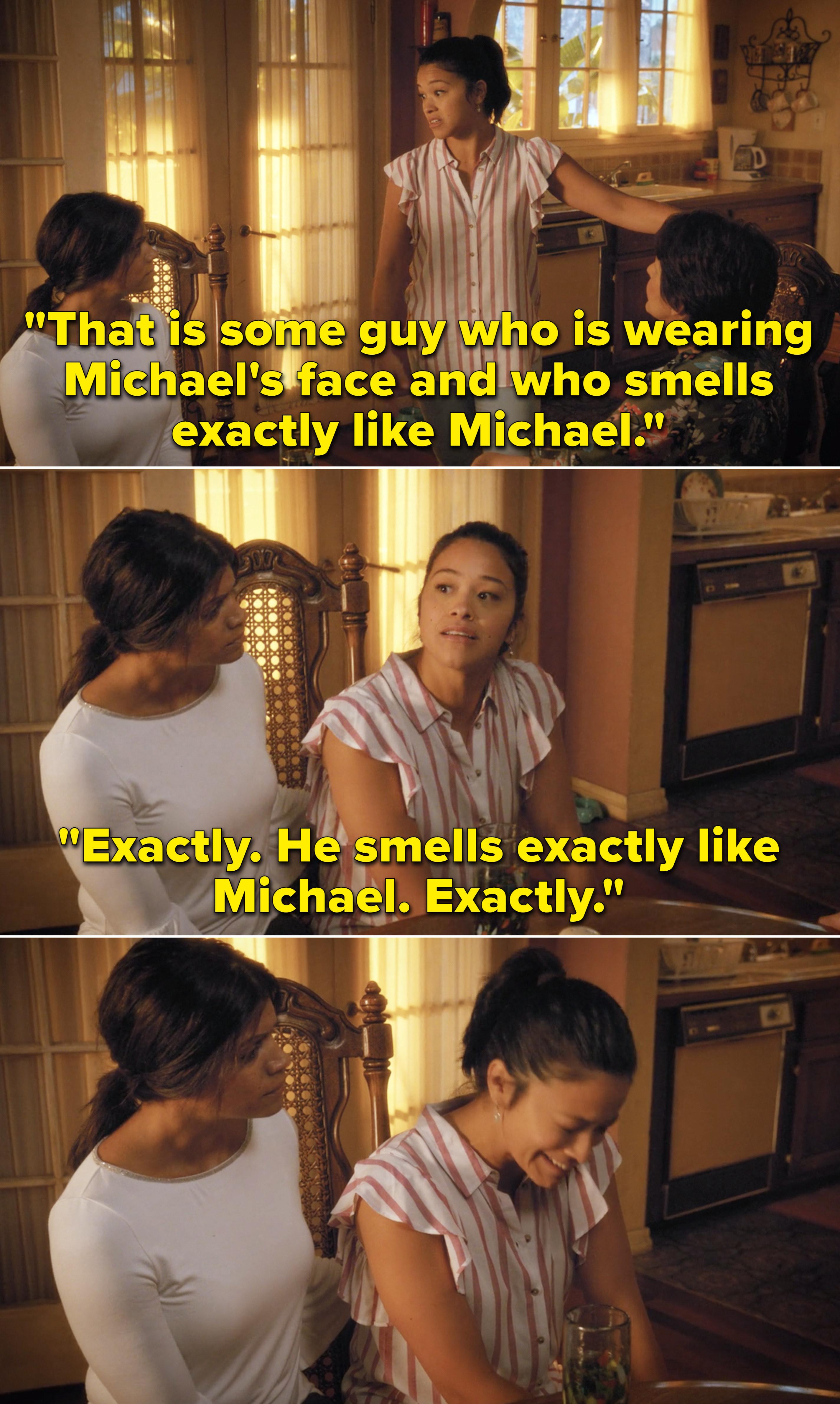 Jane crying and explaining that Jason smells exactly like Michael