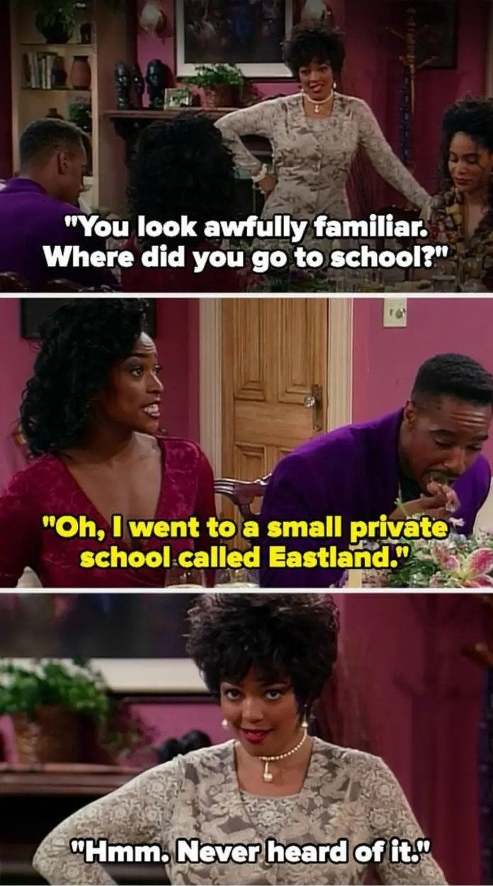 """On Living Single, Regine's ex's fiancé says """"I went to a small private school called Eastland"""" and Regine replies """"never heard of it"""" while looking at the camera"""