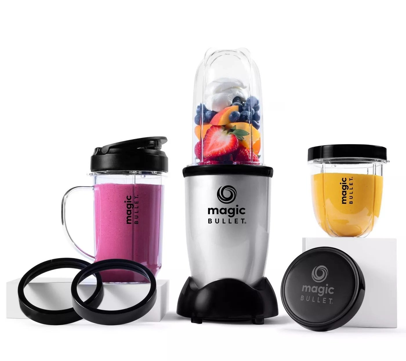 The 11-piece Magic Bullet set making smoothies