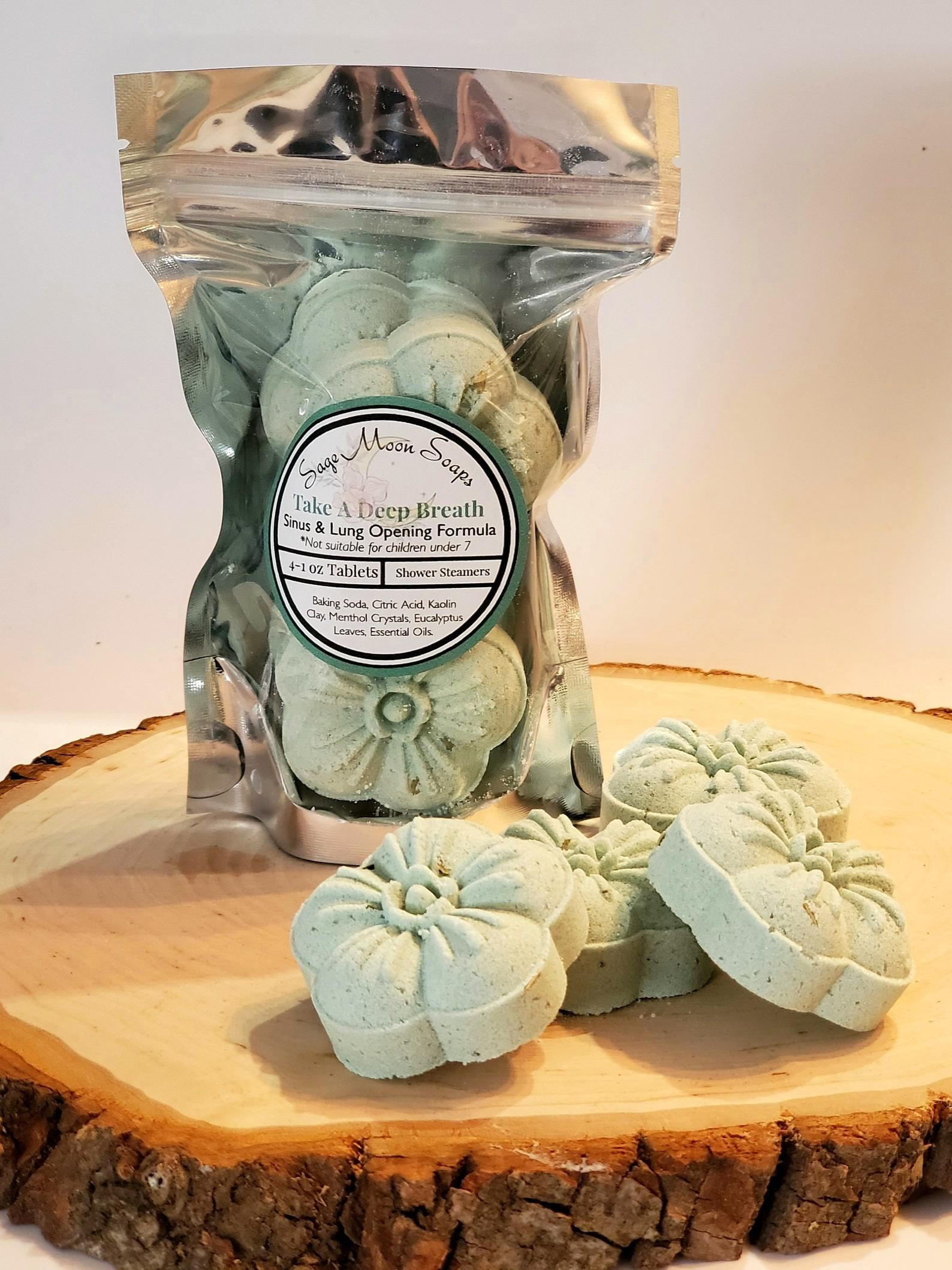 The green flower-shaped tablets, which come in a pouch