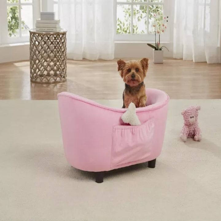 The pet bed from behind