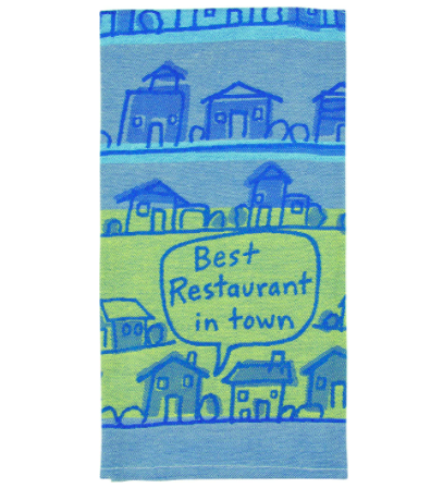 """the blue and green towel printed with houses and a speech bubble saying """"best restaurant in town"""""""