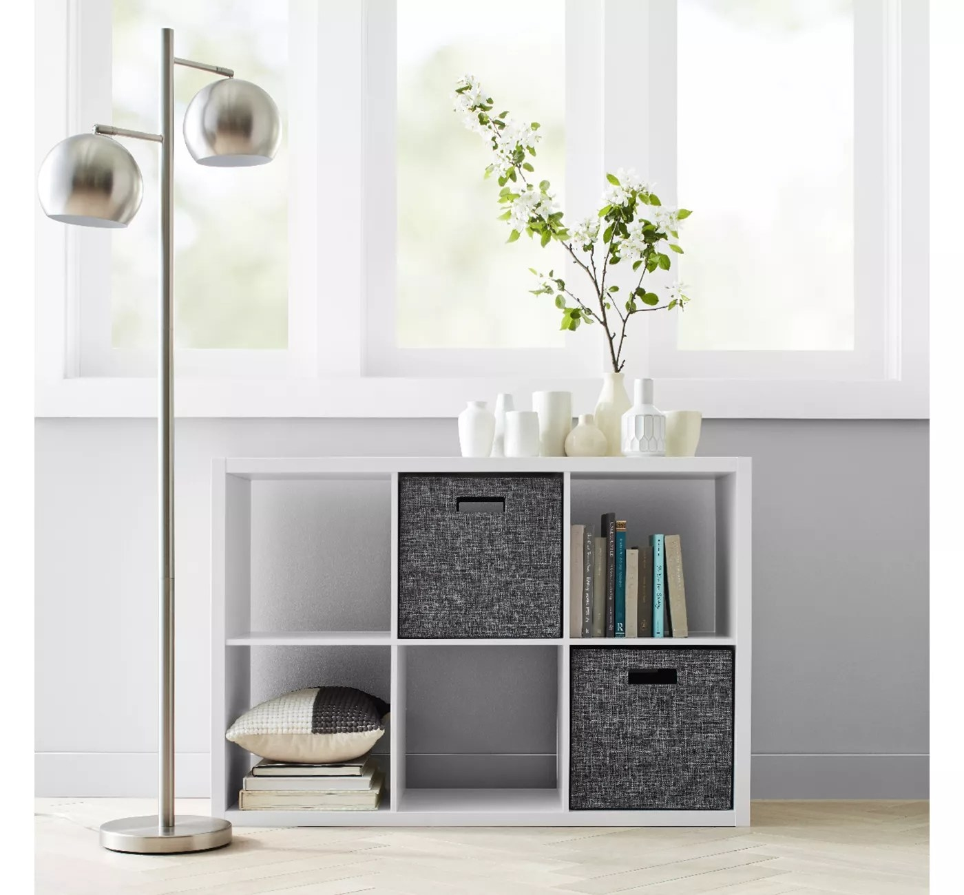 The cube shelf, with six separate compartments, in a living space