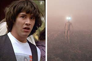 Ted from Bill and Ted and an alien with glowing eyes