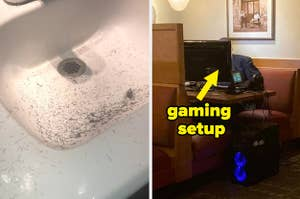 a bathroom sink covered in dark hair and a man sitting at a restaurant with a full gaming setup