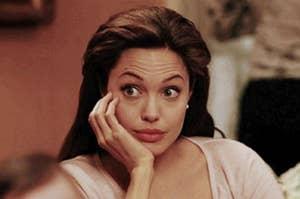 Angelina Jolie looking surprised