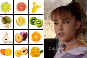 Ariana Grande trying to identify some exotic fruits