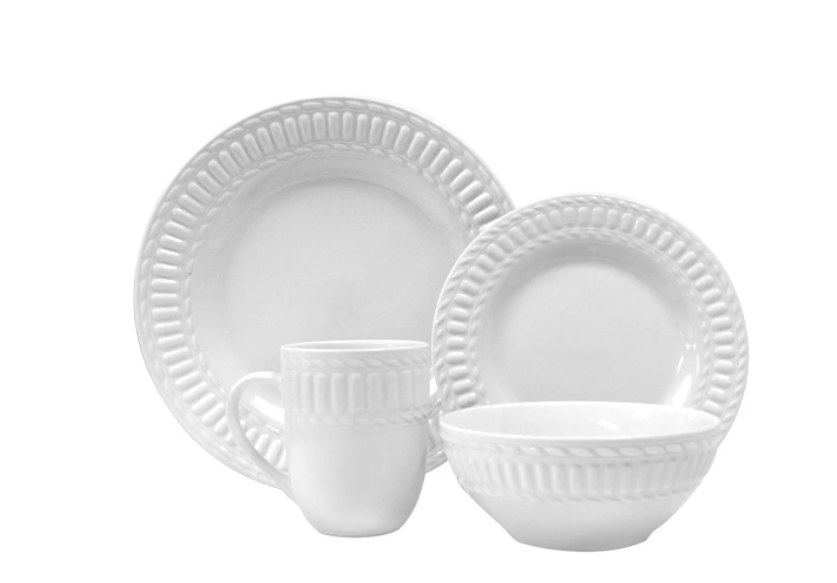 A sturdy, four-piece stoneware dishware set that is dishwasher safe
