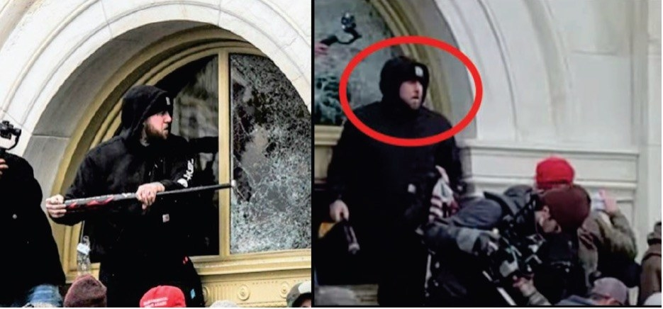 A man smashes a Capitol window with a baseball bat
