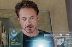 Robert Downey Jr. (as Tony Stark) in the movie the avengers