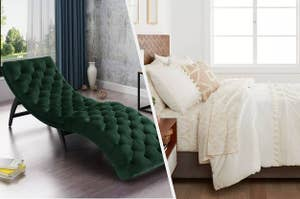 to the left: an emerald chaise lounge, to the right: a cream bedding set