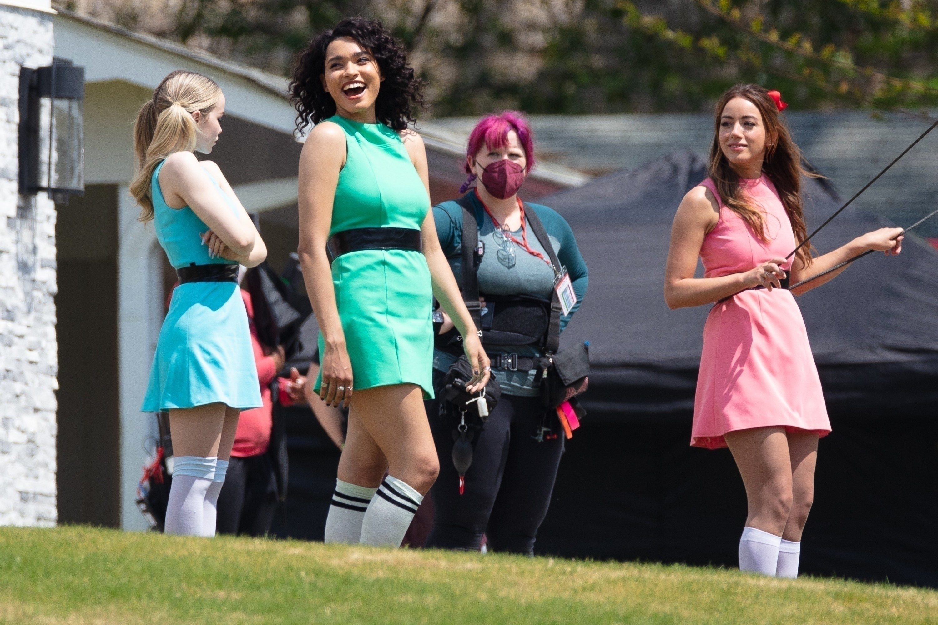 Chloe Bennet, Dove Cameron, and Yana Perrault dressed as Blossom, Bubbles, and Buttercup