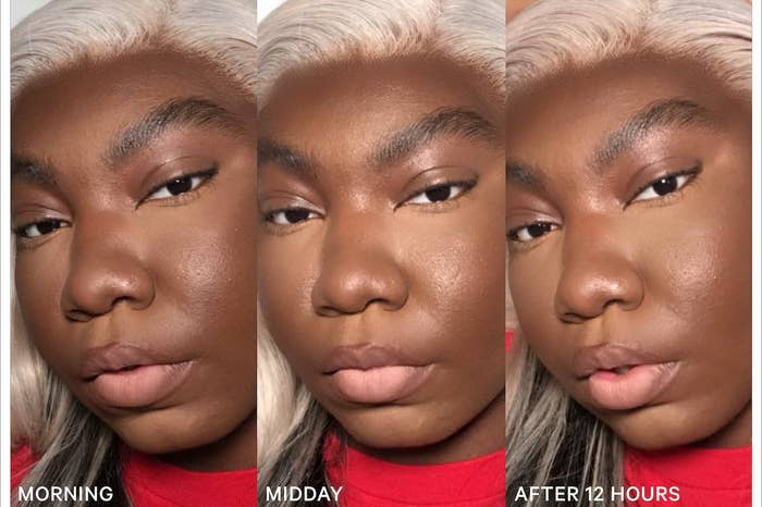 Three photos of a model in makeup to show how the primer makes it last: in the morning, midday, and after 12 hours