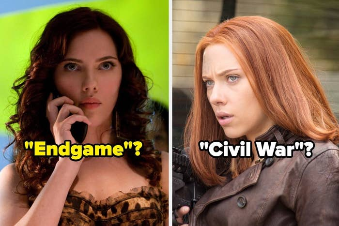 "Black Widow in ""Iron Man 2"" and Black Widow in ""Captain America: Civil War"""
