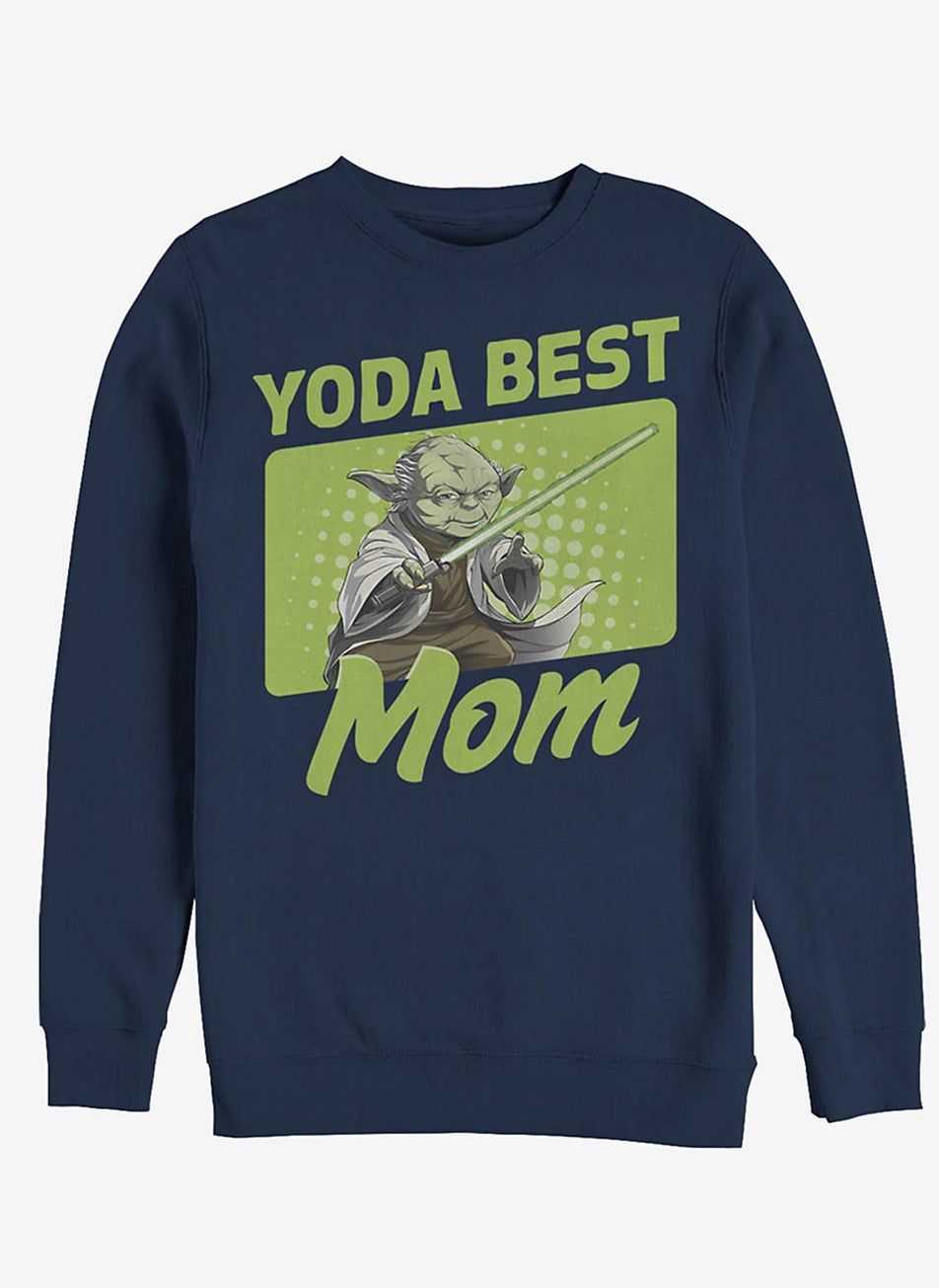 """navy sweatshirt with graphic of Yoda and the text """"Yoda best mom"""""""