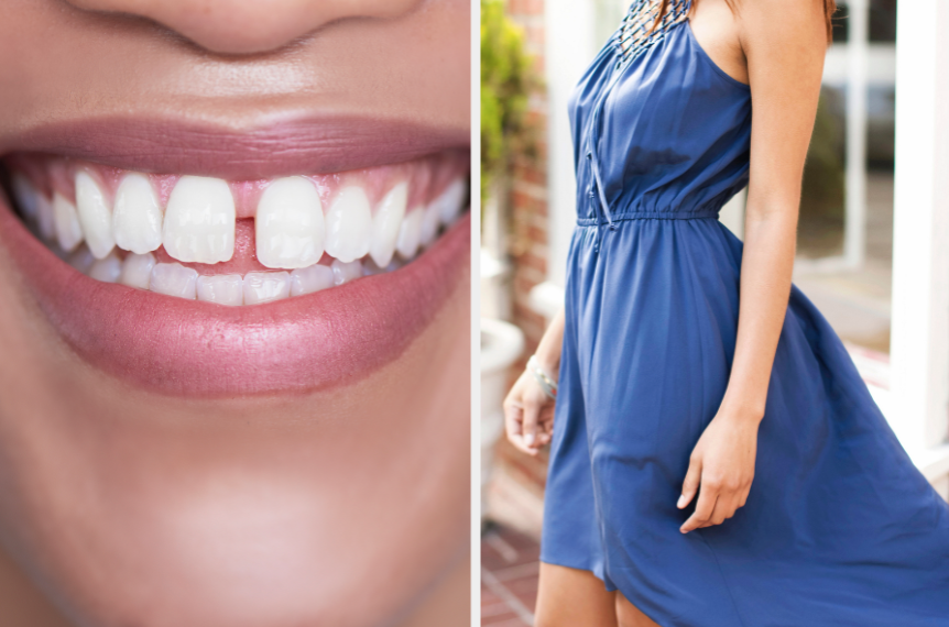 Gap tooth smile and blue dress