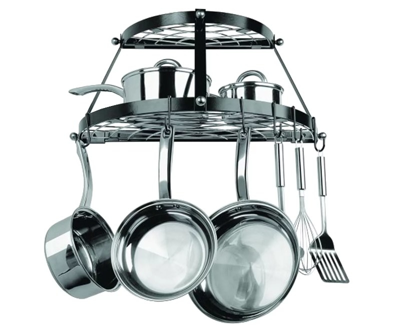 A double shelf wall hanging pot rack that includes mounting hardware and installation instructions
